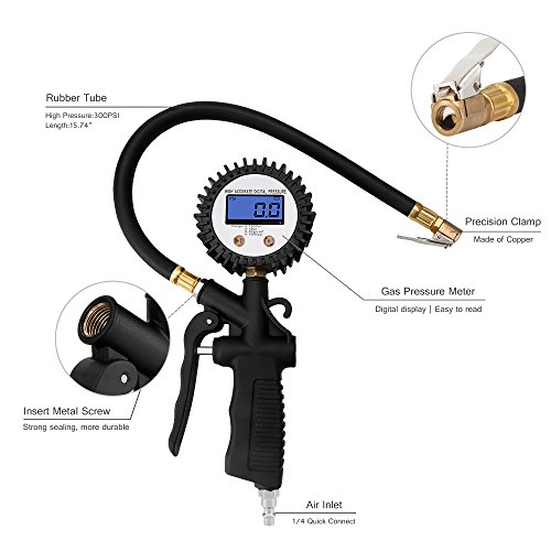 Geartronics Digital Tire Pressure Gauge Inflator with Air Chuck and Hose Air Pressure Gauge for Vehicle and Motorcycle 100 PSI by Geartronics (Image #1)