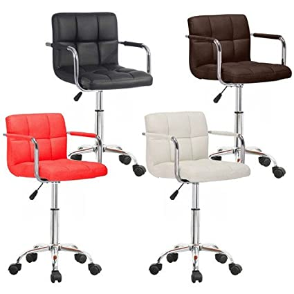 OFFICE CHAIR FAUX LEATHER BAR STOOLS WHEELS STOOL KITCHEN BREAKFAST  BARSTOOLS (BLACK)