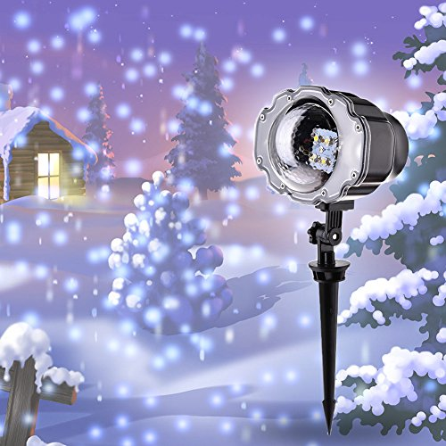 (Facaimo Christmas Snowflake Projector Lights,Christmas Snow Lights,LED Snowfall Projector Light Dynamic Snow Effect Spotlight for Garden Ballroom, Party,Halloween,Holiday Landscape)