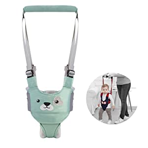 Baby Walking Harness Adjustable Detachable Baby Walker Assistant Protective Belt for Kids Infant Toddlers (Green)