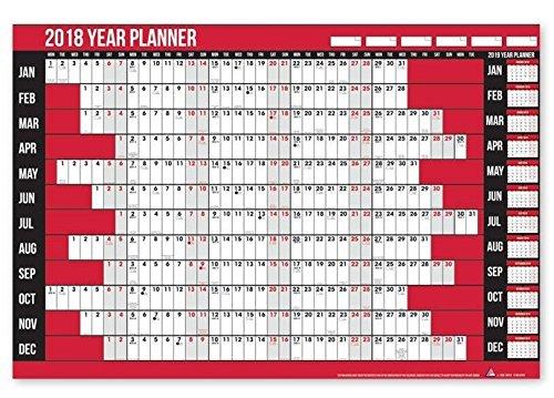 Agenda da parete, 2018, Per segnare le ferie, Penna inclusa, Con adesivi, Da ufficio o per la casa Anker