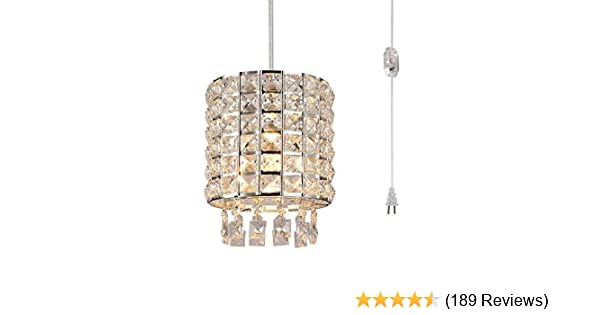 Surpars House Plug in Chandelier Raindrop Crystal Pendant Lamp with 15ft Cord