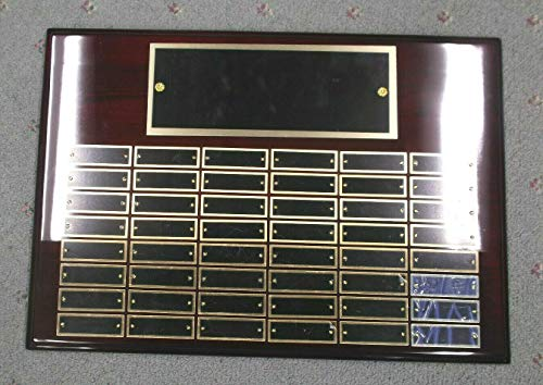 Black Perpetual Plaque - 14 x 20 Gloss Rosewood Perpetual Plaque 48 Plate Black Brass Landscape (Blank)