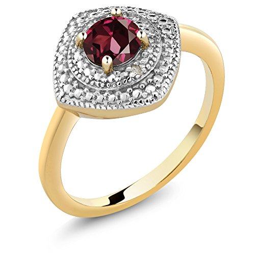 Red Rhodolite Garnet and Accent Diamond 18K Yellow Gold Plated Silver Women's Ring (0.60 cttw, Available in size 5, 6, 7, 8, - Garnet Rhodolite Accents