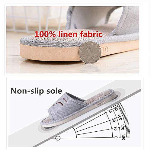 Cute House Toe Linen Open Flat Slides Unisex Home Slippers Gray Men 5 Casual Women nxYqw0pFRI
