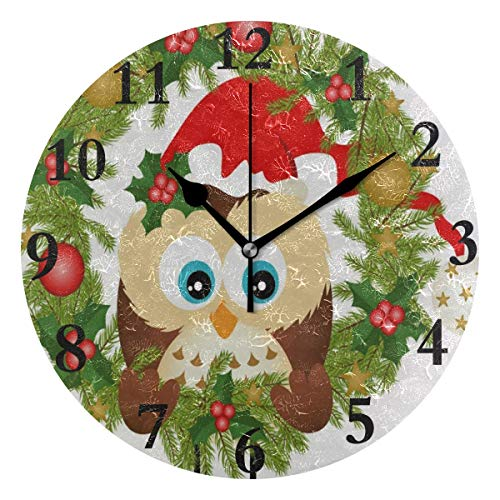 NMCEO Round Wall Clock Owl Sitting Christmas Wreath Acrylic Original Clock for Home Decor ()