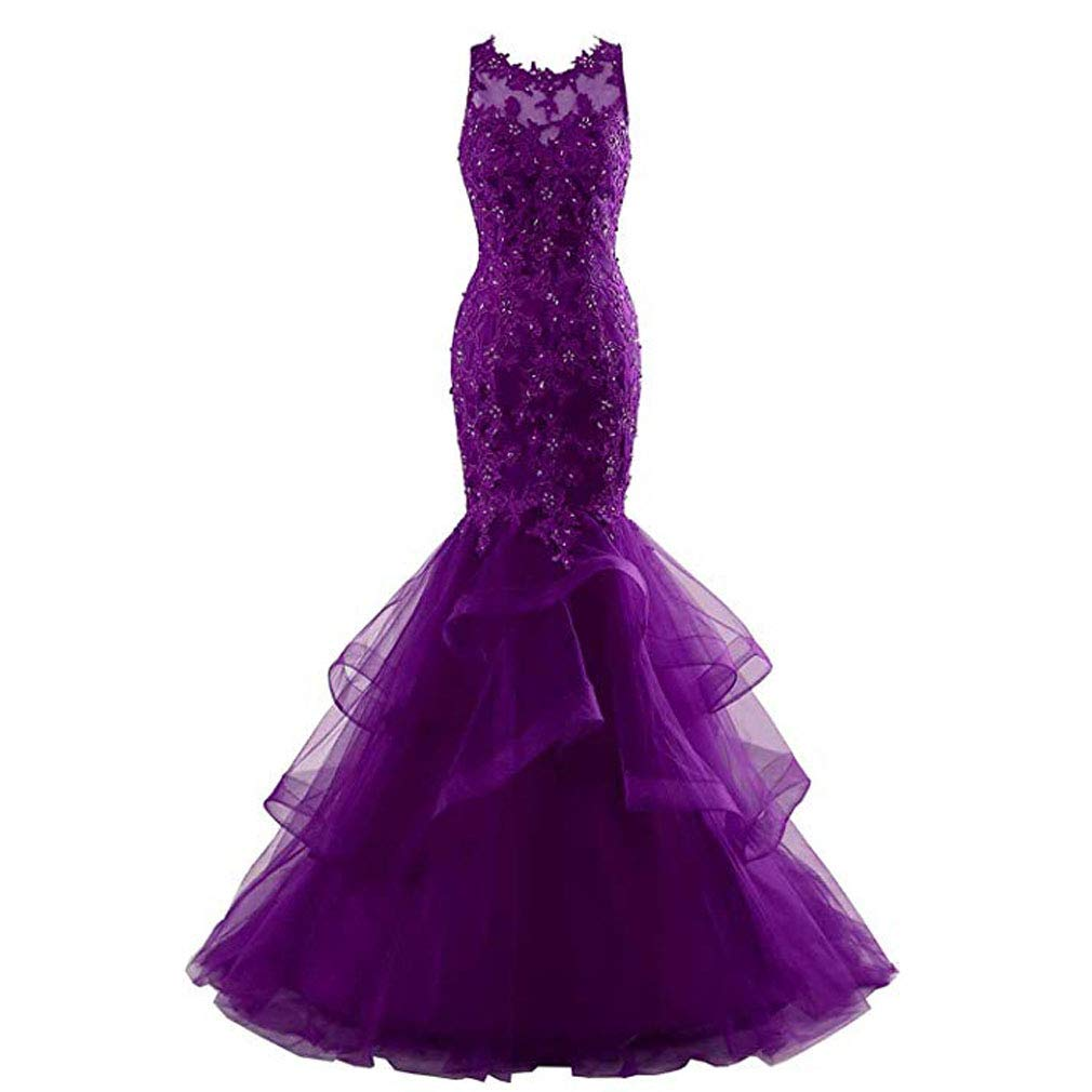 Purple Fashionbride Women's Long Prom Dress Ball Gown Beaded Lace Mermaid Formal Dresses ED77