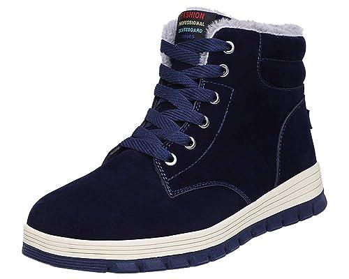 d8567715f032d4 Yooeen Bottes de Neige Antidérapant Bottes Martin Fourrées Chaudes Bottines  Mode Plates Boots Hiver Chaussures de
