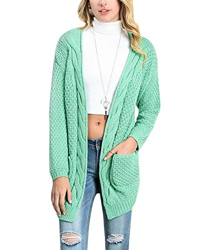 Women's Long Sleeve Casual Open Front Kit Shawl Collar Loose Fit Cardigan Sweaters Coat Mint Green (Shawl Knit Kit)