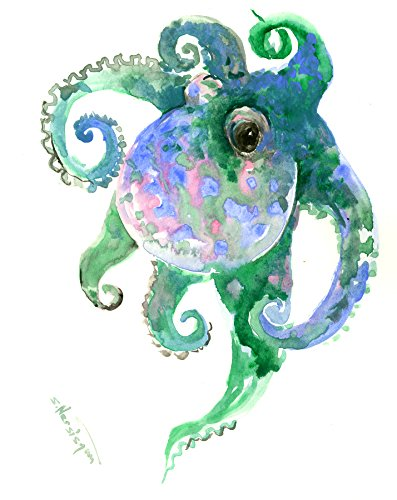 - Octopus Painting, Original, One of a kind watercolor art, Blue sea world art, Beach design, beach painting, Cotopus wall art
