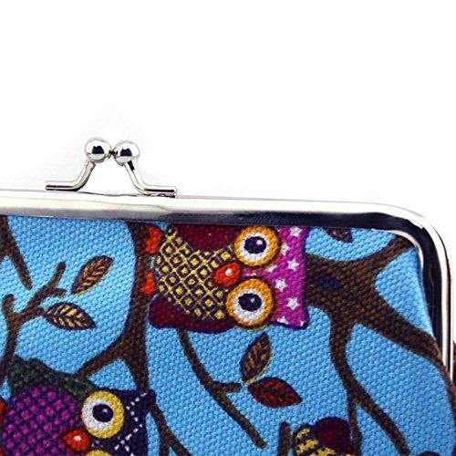 Buho Pequeño cerrojo moneda monedero embrague bolso de la lona para las mujeres,Color Caqui Azul