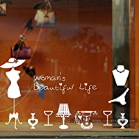 Ghaif The lingerie shop glass door against the wall mount ladies clothing shop-window glass sticker White Large