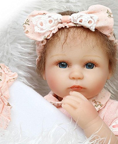 Pinky 42cm 17 Inch Lovely Realistic Looking Reborn Baby Girl Doll Cute Soft Silicone Lifelike Newborn Doll Toddler Real Life Baby Girl in Pink Dress Birthday Xmas Gift(Blue Eyes)
