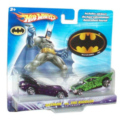 Hot Wheels Year 2006 DC Comics 1:64 Scale 2 Pack Die Cast Car - Batman Batmobile vs. The Riddler Car Plus Bonus Sticker (Wheels Hot Stickers Cars)