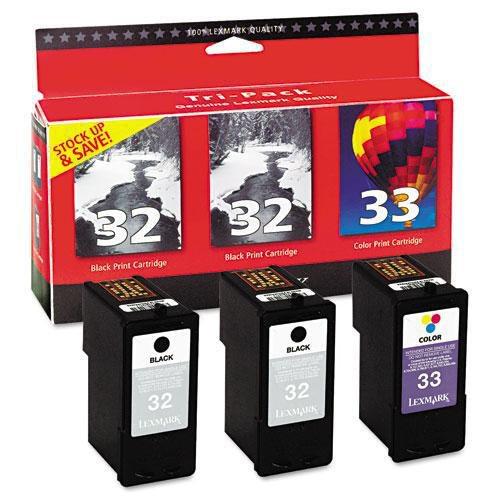 Lexmark 32/32/33 18C1517 Black/Black/Color Ink Cartridge, Tri-Pack (Lexmark In 32 33)