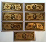 Gold Plated 1928 US novelty money Banknote Set $1, $2, $5, $10, $20, $50, $100 gold certificate + Free Good Luck Novelty Million Dollar Bill