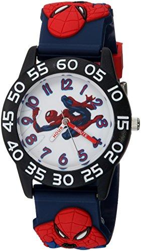 Marvel Boy's 'Spider-Man' Quartz Plastic Casual Watch, Color:Blue (Model: WMA000167)