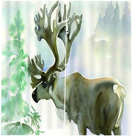 QinKingstore 170 * 200cmの美しい鹿のカーテンの寝室の窓の停電の窓の装飾的なパネルの窓の処置のドレープ