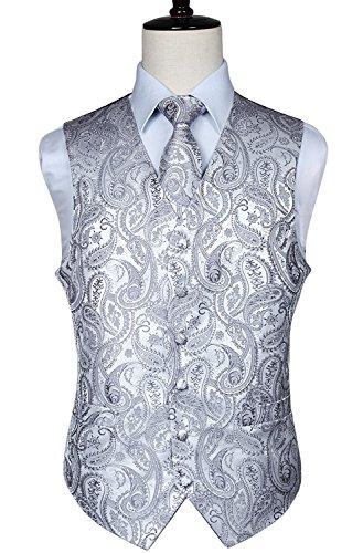 Pocket Classic Vest Chest - HISDERN Men's Paisley Floral Jacquard Waistcoat & Neck Tie and Pocket Square Vest Suit Set Gray