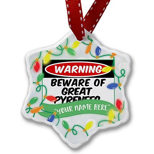 Personalized Name Christmas Ornament, Beware of the Great Pyrenees Dog from France, Spain NEONBLOND by NEONBLOND