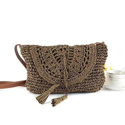 qiulv Crossbody bolso de paja bolsos huecos Crochet mujeres tejidas de punto de ocio de viajes de verano Beach Tote, deep coffee deep coffee