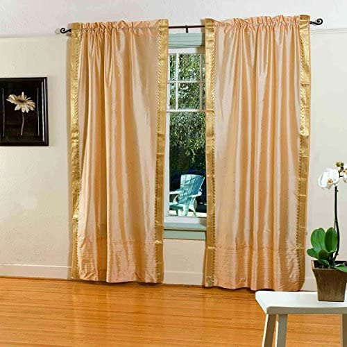 Indian Selections Lined-Gold Rod Pocket Sheer Sari Curtain/Drape/Panel