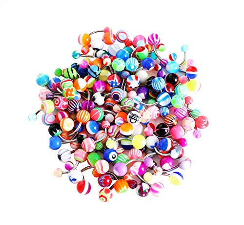(HuayoRong 100Pcs 14G Assorted Belly Button Rings Body Piercing Jewelry (Surgical Steel 100)