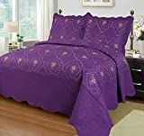 Big 7 Home 3pcs Embroidery Polyester Solid Quilt Twin Full Queen King Size Bed Cover Ensemble Coverlet Set Bedspread W/pillow Shams (King, Purple)