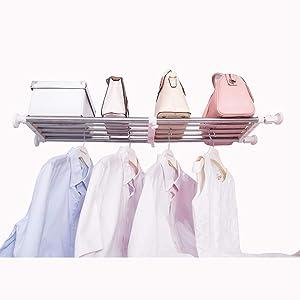 Hershii Tension Shelf Expandable Rod Closet System Heavy Duty Clothes Hanger Adjustable DIY Storage Organizer Shoe Rack