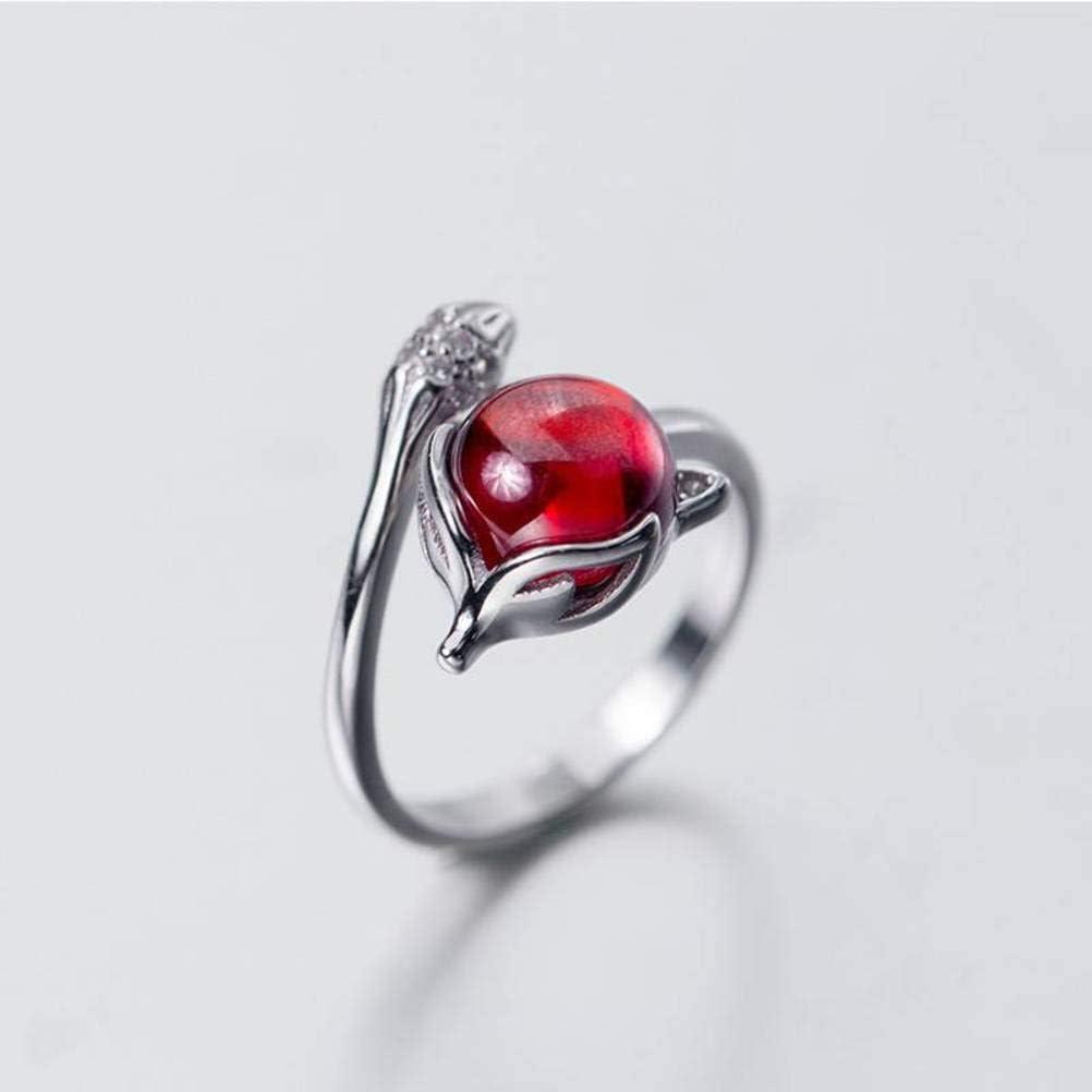 WOZUIMEI S925 Anillo de Diamantes de Plata Anillo de Dedo Índice de Apertura de Zorro Rojo para Mujer Estilo Encantador Joyería para NiñosAnillo de plata S925, apertura ajustada