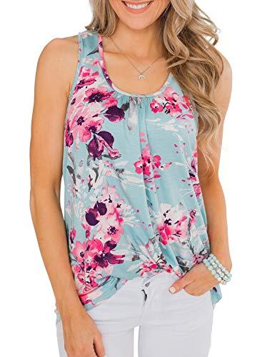 Eytino Women Casual Sleeveless Blouse Floral Print Cami Tank Tops,XX-Large Sky -