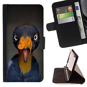 - bird beak tropical turkey yellow blue - - Prima caja de la PU billetera de cuero con ranuras para tarjetas, efectivo desmontable correa para l Funny HouseFOR Sony Xperia M2