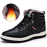 Quickshark Men Snow Boots Winter Casual Warm Shoes High Top Non-Slip Leather Fur Lining Sneaker(US Men 7.5 = EU 40, Black)