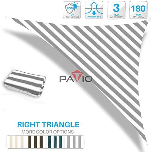 Patio Paradise 16 x 20 x 25.6 Grey White Stripes Sun Shade Sail Right Triangle Canopy, 180 GSM Permeable Canopy Pergolas Top Cover, Permeable UV Block Fabric Durable Outdoor
