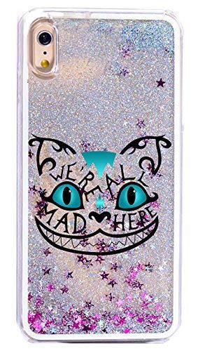 DECO FAIRY Compatible with iPhone XR, Blue Glitter Cheshire Mad Cat Alice In Wonderland we're all mad here series Transparent Translucent Flexible Silicone Clear Cover Case -