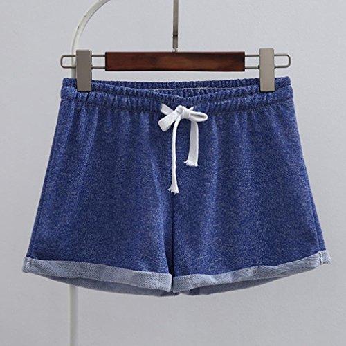 piegatura breve alta spiaggia Pantaloncini per Yoga e eleganti pigiama da donna BYSTE estivo sportivi BYSTE coulisse elastic vita di Ultra Blu Pantaloncini corti Donna Pantaloncini donna g0pA1nZ