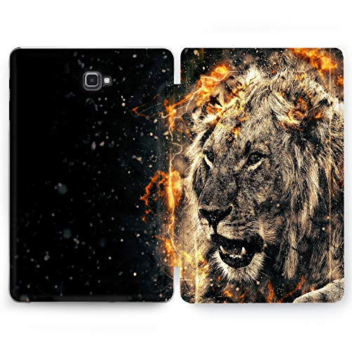 Wonder Wild Flame Leader Samsung Galaxy Tab S4 S2 S3 A E Smart Stand Case 2015 2016 2017 2018 Tablet Cover 8 9.6 9.7 10 10.1 10.5 Inch Clear Animal Kingdom Loin Tiger Cat Manly Strong Powerful Brave -