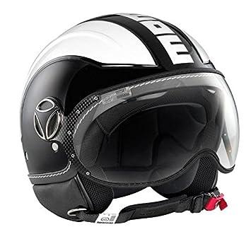 MoMo Avio Open Face Casco de Moto en Negro Brillante con Blanco Logo Blanco, Black