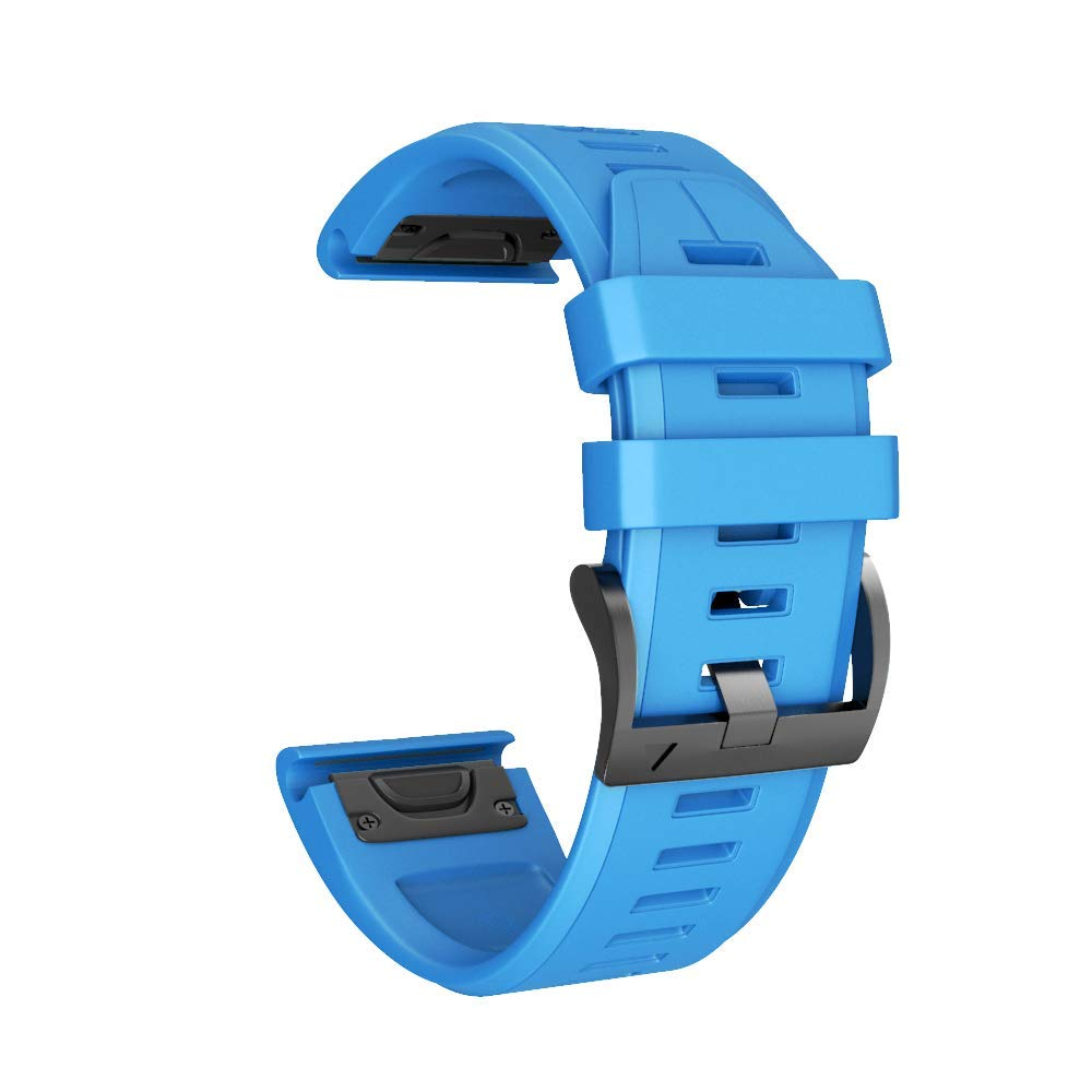 ANCOOL Compatible Fenix 5X Plus Band 26mm Easy Fit Silicone Smartwatch Bands Replacement for Fenix 6X/Fenix 6X Pro/Fenix 5X/Fenix 5X Plus/Fenix 3/Fenix 3 HR (Blue) by ANCOOL