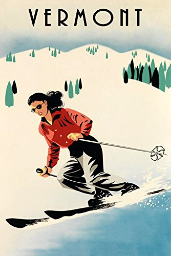Fashion American Girl Lady Ski Skiing Mountains of Vermont United States Northeast Winter Sport Vintage Poster Repro 12