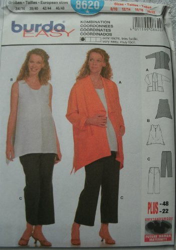 Burda Maternity Pattern 8620 Misses Coordinates - Jacket, Top and Pants Size 8-22 Easy to Sew ()