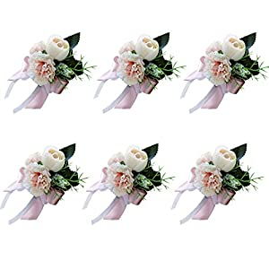 Calcifer 6 Pcs Handmade European Style Retro Groom Groomsman Bridal Bridegroom Boutonniere Corsage Silk Rose Flower Wrist Flowers Wedding Accessories-Rose & Carnation 114
