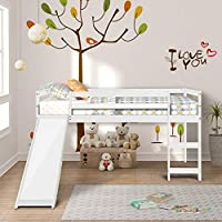 GLCHQ Multifunctional Design Kids Loft Bed with Slide for Boys & Girls Bedroom (Ivory White)