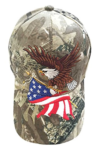 Patriotic American Eagle and American Flag Baseball Cap with USA 3D Embroidery (Camouflage)