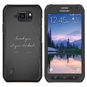 EJOOY---Cubierta de la caja de protección para la piel dura ** Samsung Galaxy S6Active Active G890A ** --Amor Oscuro Gris San Valentín Texto Pareja Trágica