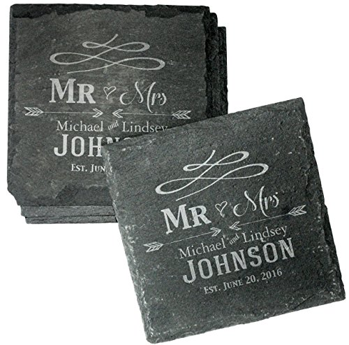 Personalized Wedding Coasters (Custom Engraved Wedding Coaster Gift Set for Couples - Set of 4 Drink Coasters for Wedding Favors, Engagement Gift, Mr and Mrs Newlyweds - CSL31)