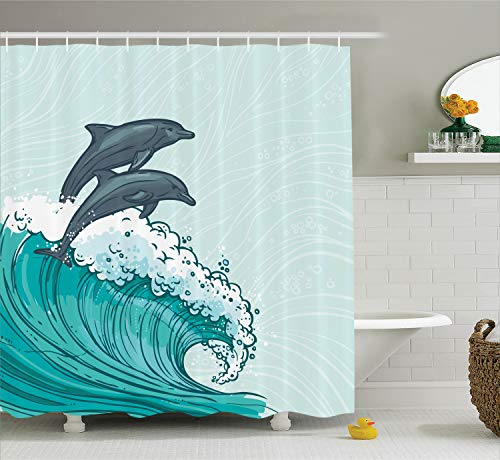(Ambesonne Dolphin Shower Curtain Set Sea Animals Decor, Two Surfing Dolphins in Waves Water Sketch Sea Ocean Summertime Print, Bathroom Accessories, 84 Inches Extralong, Aqua Blue)