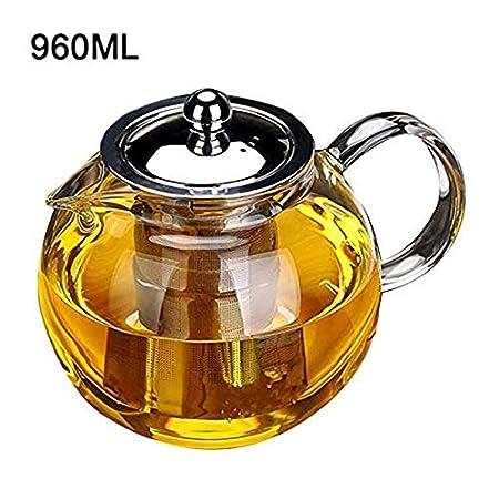 600ML Tolyneil r/ésistant /à la chaleur Th/éi/ère en verre Home Office Supply filtre en acier inoxydable Th/éi/ère en verre Ensemble