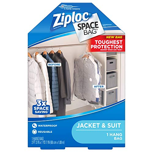 Ziploc Hanging Space Bags, for Clothing Organization and Storage, Reusable, Waterproof Bag, Pack of 1