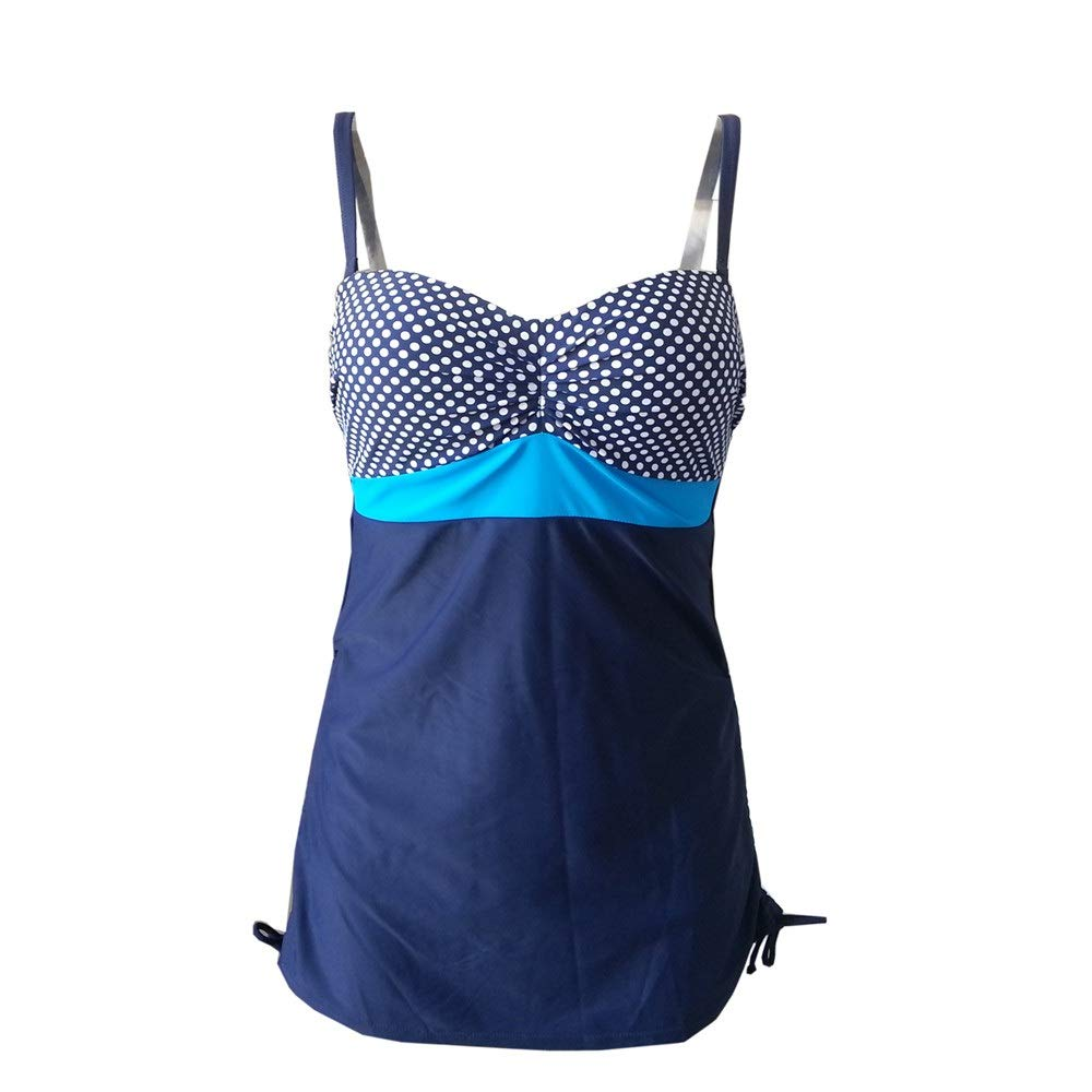 bluee Ladies One Piece Bikini Womens Slimming Tummy Control Swimdress Swimwear Plus Size color Block Polka Dots Padded Cups Swimsuit Sleeveless Deep V Jumpsuit Swimming Bathing Suit Stretchy Romper Beach Ba